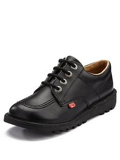f6cd71163595 Kickers Leather Lace-up Kick Lo Core School Shoes - Black