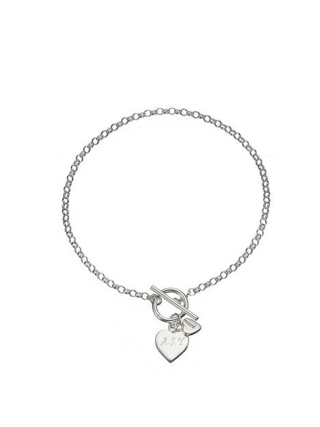 the-love-silver-collection-personalised-sterling-silver-double-heart-drop-t-bar-bracelet