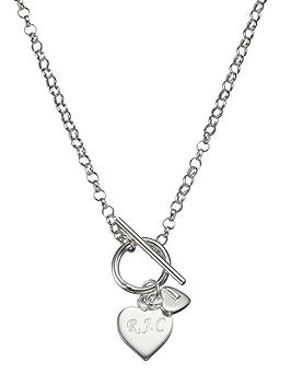 the-love-silver-collection-personalised-sterling-silver-double-heart-drop-t-bar-necklace