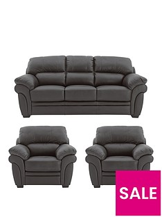 Portland Leather 3 Seater Sofa + 2 Armchairs (Buy and SAVE ...