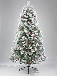 bavarian pine christmas tree with snow 6ft - Christmas Trees Fake