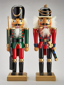 wooden nutcracker soldiers christmas decorations 2 pack littlewoodsirelandie - Large Toy Soldier Christmas Decoration
