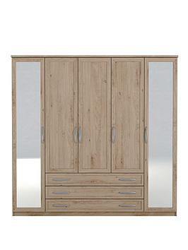 texas-5-door-3-drawer-mirrored-wardrobe