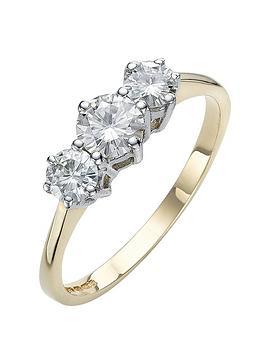 moissanite-9-carat-yellow-gold-1-carat-trilogy-ring