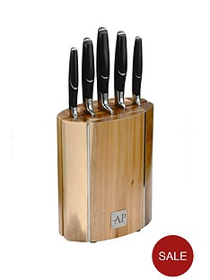 arthur-price-oval-wooden-knife-block-5-piece-set