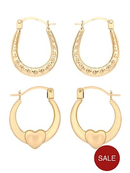 love-gold-9-carat-yellow-gold-heart-and-patterned-creole-earrings-set-of-2