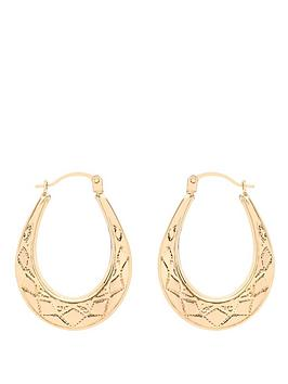love-gold-9-carat-yellow-gold-patterned-oval-creole-earrings