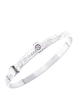 the-love-silver-collection-sterling-silver-childs-expander-bangle-with-princess-message-set-with-pink-cubic-zirconia-stones