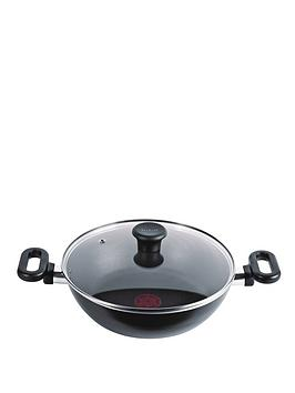 tefal-26cm-kadai-and-glass-lid-black