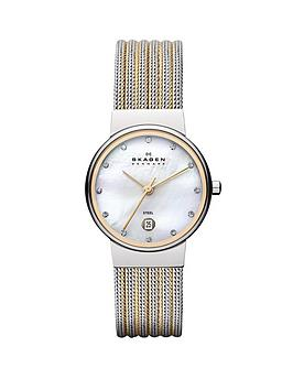 skagen-ancher-two-tone-striped-mesh-ladies-watch