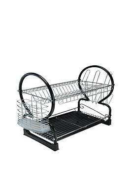 apollo-chrome-dish-drainer-with-black-tray