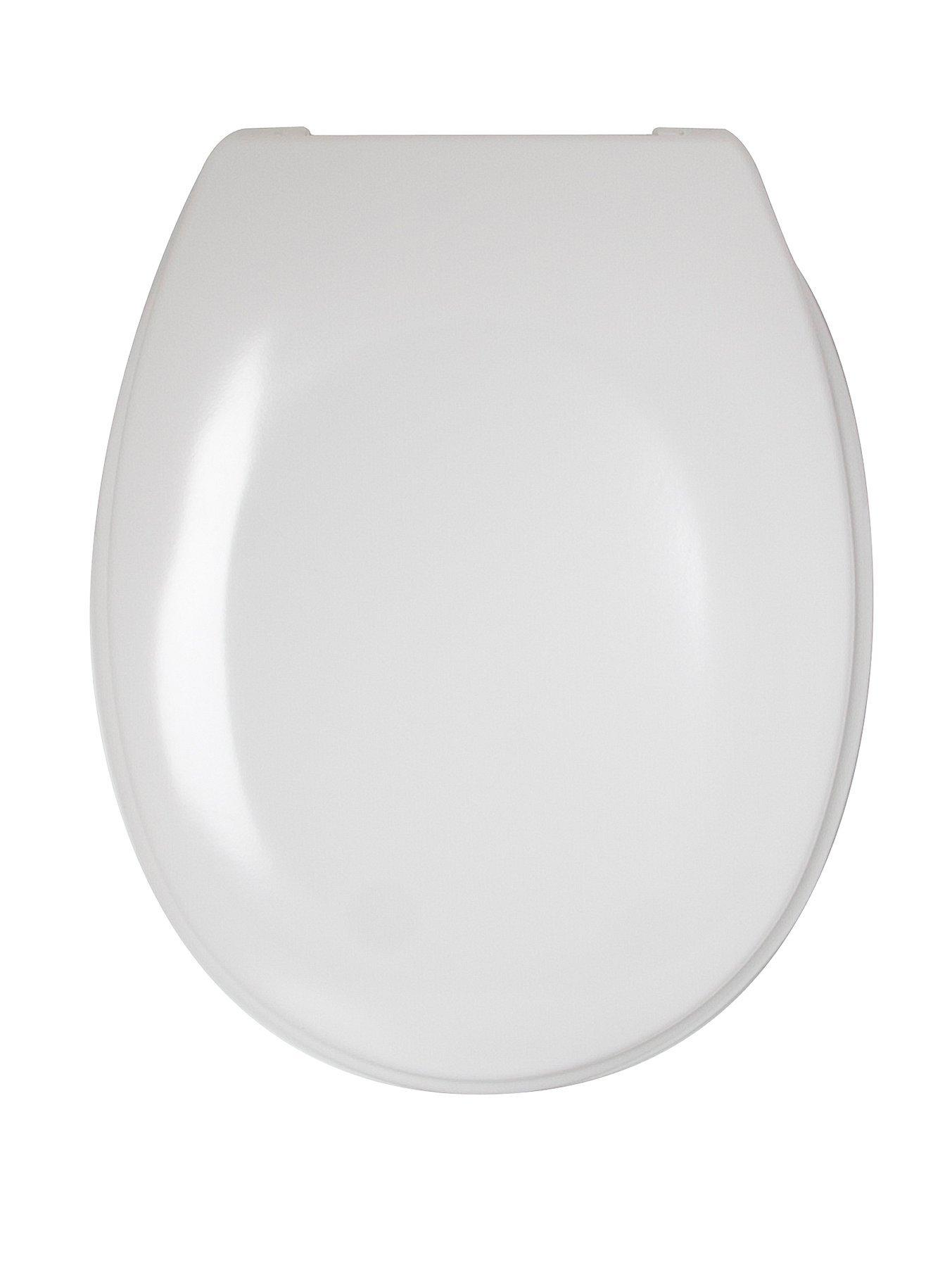 """New White 18/"""" MDF Toilet Seat With Solid Zinc Fittings /& Hinges Branded Boxed"""