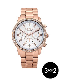 lipsy-ladies-rose-gold-chronograph-bracelet-watch