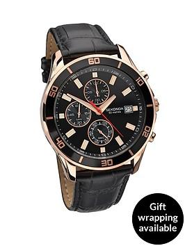 sekonda-chronograph-rose-gold-tone-and-black-leather-strap-mens-watch