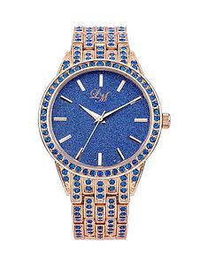 little-mistress-glitter-dial-blue-stone-set-rose-gold-tone-bracelet-ladies-watch