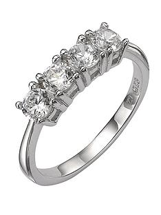 prod1084113677: Sterling Silver White Cubic Zirconia 4 Stone Dress Ring