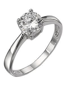 prod1084113661: Sterling Silver White Cubic Zirconia Solitaire Dress Ring