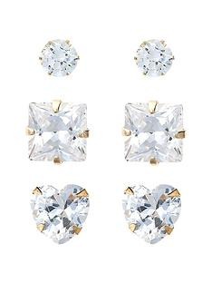 love-gold-9-carat-yellow-gold-set-of-three-cubic-zirconia-studs