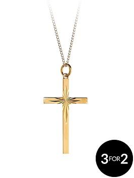 love-gold-9-carat-rolled-gold-diamond-cut-cross-pendant