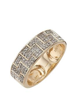 love-diamond-9-carat-yellow-gold-25-point-diamond-greek-key-band-unisex-ring