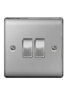 british-general-brushed-steel-2g-plate-switch