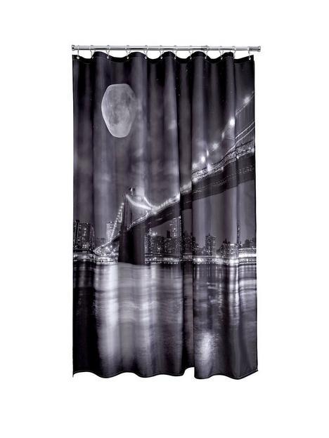 aqualona-brooklyn-bridge-shower-curtain-blackwhite