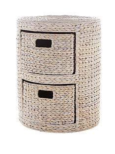 round-arrow-weave-2-drawer-storage-unit-white