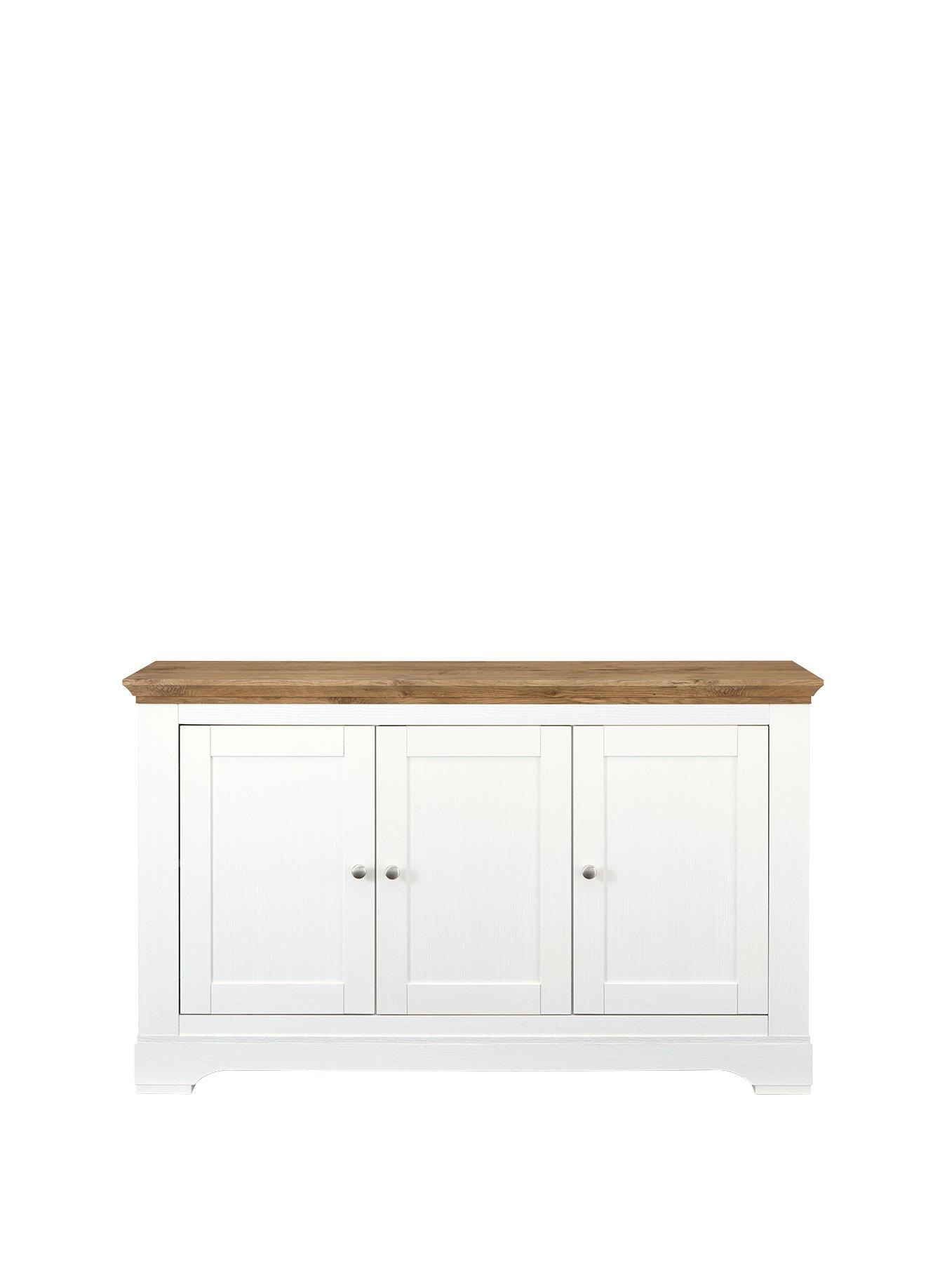 See description Cream and Oak 2 door Compact Sideboard Lancaster Range GRADED