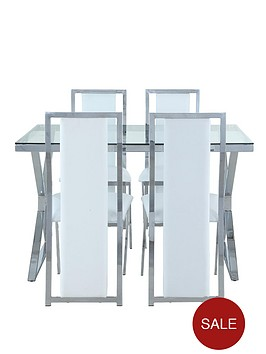 nevada-chrome-and-glass-dining-table-with-4-white-faux-leather-chairs-clear