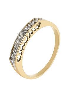 love-gold-9-carat-yellow-gold-diamond-set-mum-heart-ring