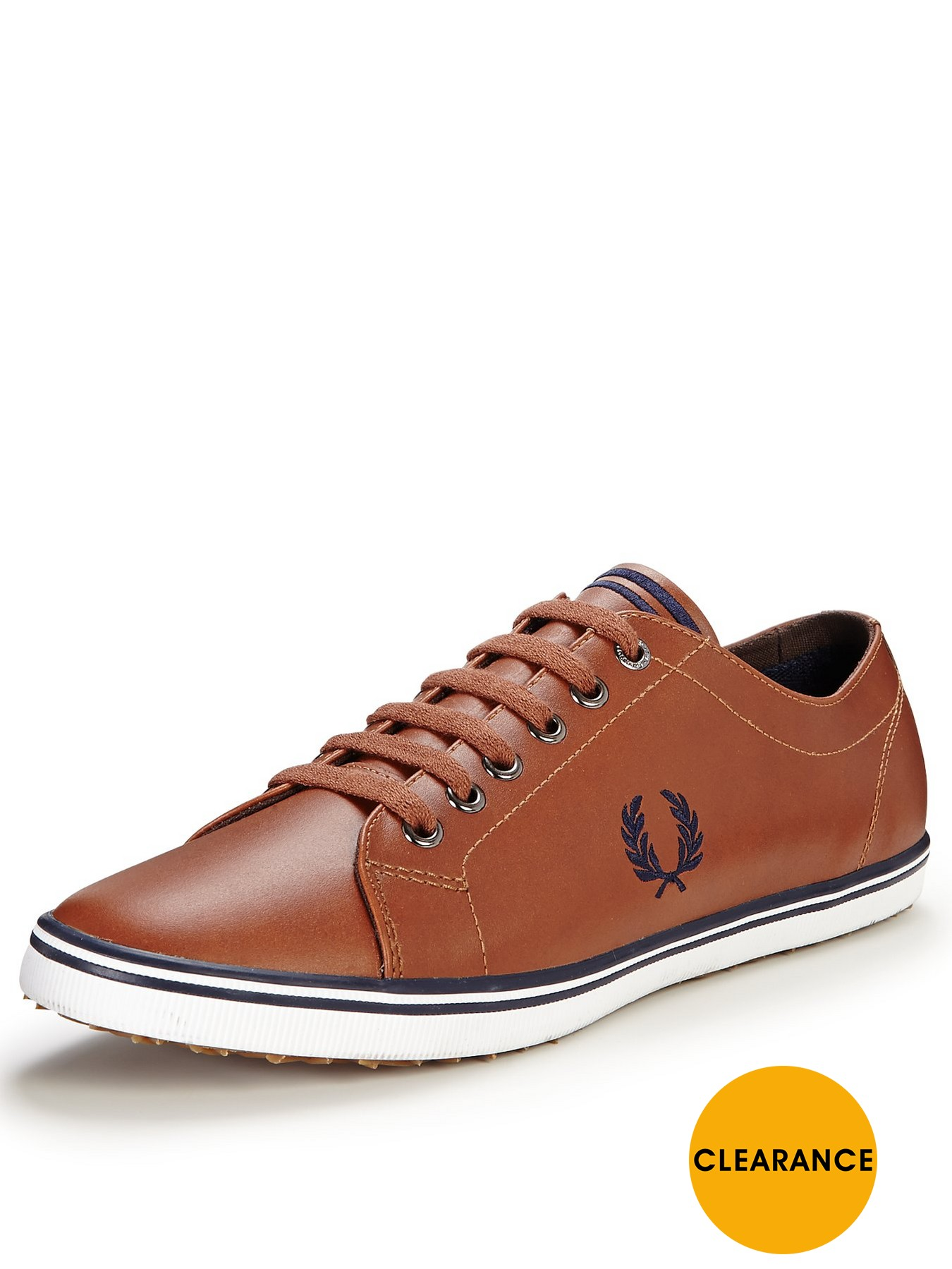 Fred Perry Kingston Leather Plimsolls Tan 1458402095 Men's Shoes Fred Perry Pumps Plimsolls
