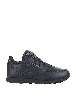 aa21d3cfce Reebok Classic Leather Junior Trainers - Black | littlewoodsireland.ie