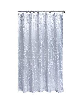 AQUALONA Metallic Leaf Shower Curtain