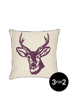 catherine-lansfield-stags-head-silhouette-cushion-mulberry