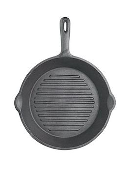 kitchencraft-24-cm-deluxe-cast-iron-round-ribbed-grill-pan