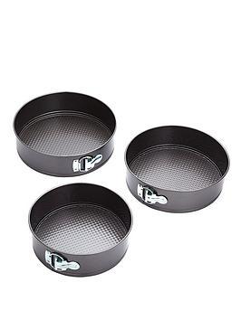 kitchencraft-3-piece-non-stick-spring-form-cake-tin-set