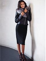 Michelle Keegan PU Fur Collar Jacket