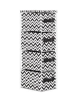 4-tier-chevron-print-drawer-unit-blackwhite