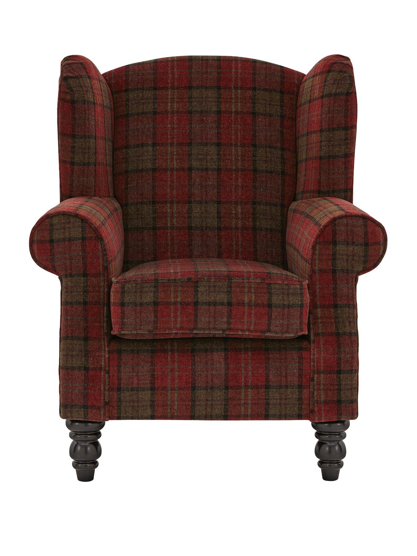 Orkney Tartan Patterned Accent Wing Chair