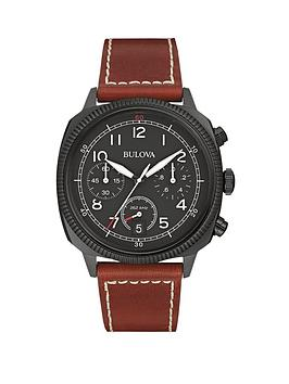 bulova-military-chronograph-brown-stitched-leather-strap-mens-watch