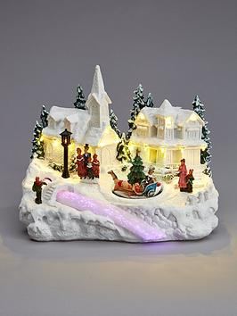 polyresinnbspled-christmas-village-with-revolving-christmas-tree