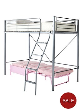 kidspace-montana-high-sleeper-with-futon-single-bed-and-optional-mattress