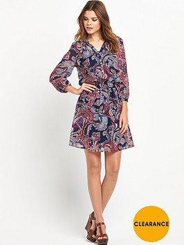 south-paisleynbspprinted-shirred-dressnbsp