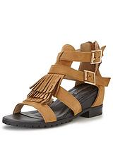 Glamorous Fringed Low Wedge Sandal