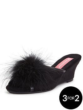 dunlop-marilyn-fluffy-low-wedge-mule-slipper