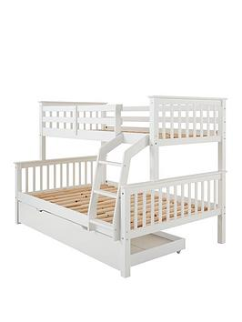 Novara Detachable Trio Bunk Bed With Optional Mattress