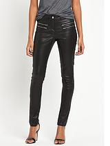 Double Zip Coated Skinny Jeans