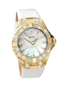 seksy-gold-plated-case-with-crystal-from-swarovskireg-elements-white-leather-strap-ladies-watch