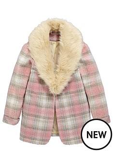 freespirit-girls-check-boyfriend-coat-with-fur-collar