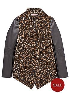 freespirit-girls-animal-waterfall-coat-with-pu-sleeves
